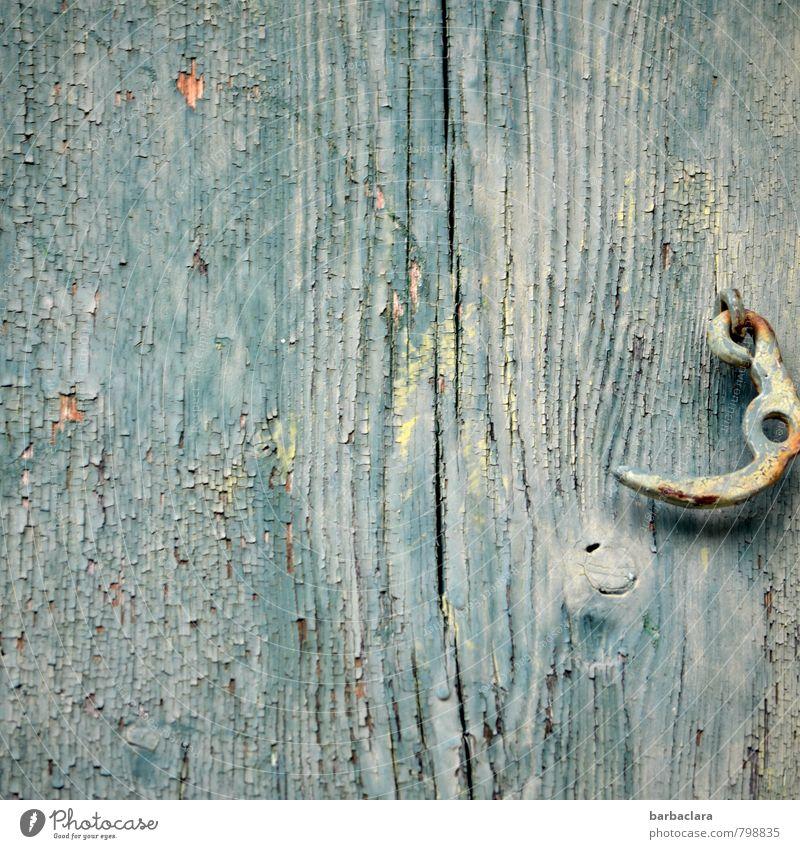 Hüttengaudi   hinter geschlossener Tür Bauwerk Gebäude Scheune Mauer Wand Riegel Holz alt fest blau Farbe Natur Schutz Vergänglichkeit Häusliches Leben Farbfoto