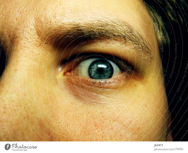 Augenblick 2 blau Gesicht Kopf Angst Nase nah Panik Wimpern Augenbraue Pupille Regenbogenhaut Pore Augenfarbe