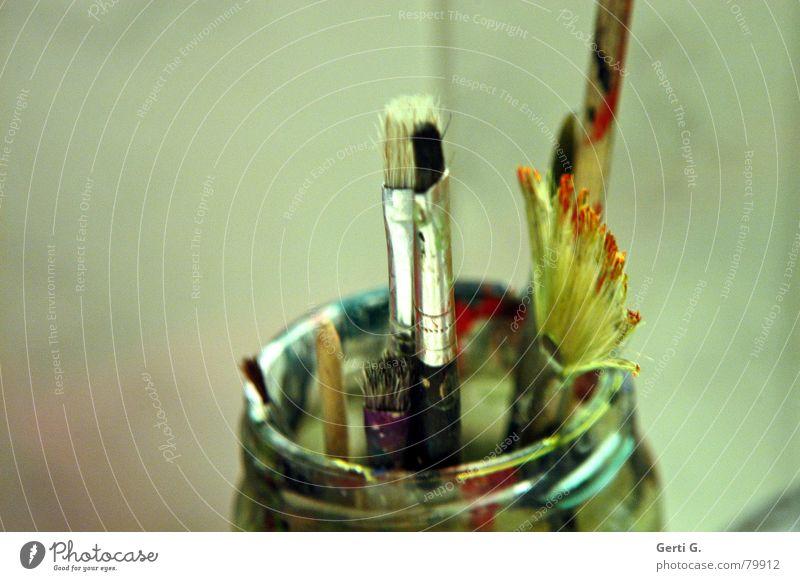 mal wieder den Pinsel schwingen Freude Farbe Graffiti Kraft Kunst Glas groß Freizeit & Hobby dünn streichen Gemälde dick zeichnen Kreativität Material