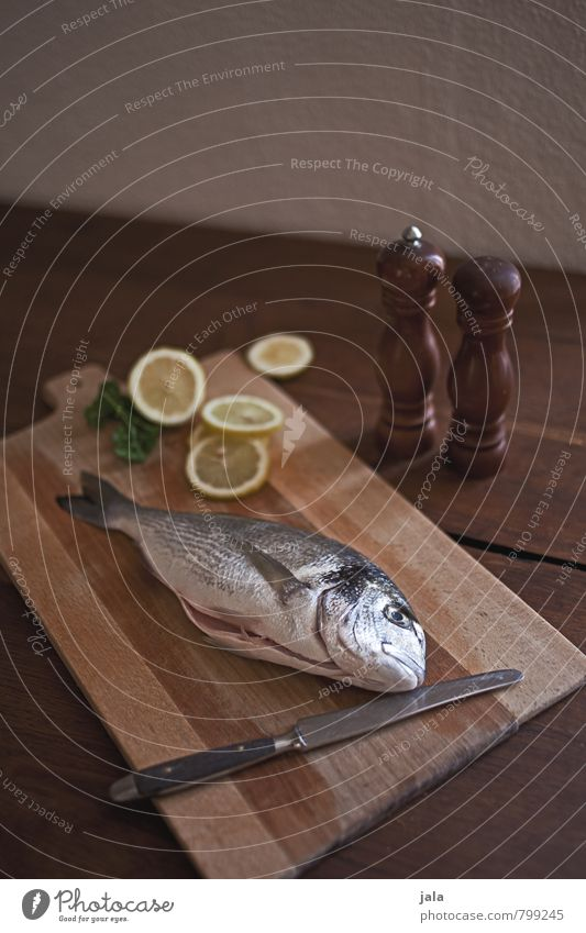 fisch Lebensmittel Fisch Dorade Zitrone Kochsalz Pfeffer Ernährung Messer Schneidebrett Gesunde Ernährung frisch Gesundheit lecker natürlich Appetit & Hunger