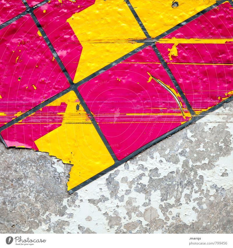 Abriss Stil Design Mauer Wand Kunststoff Linie Mosaik Coolness trendy einzigartig kaputt gelb grau rosa Farbe Verfall Kratzer Hintergrundbild Farbfoto