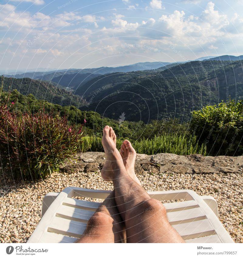 poolpause Umwelt Natur Landschaft Wind Wald Urwald Hügel Schwimmen & Baden Liegestuhl Fuß Beine genießen Frankreich Rhône-Alpes Region Erholung Pause