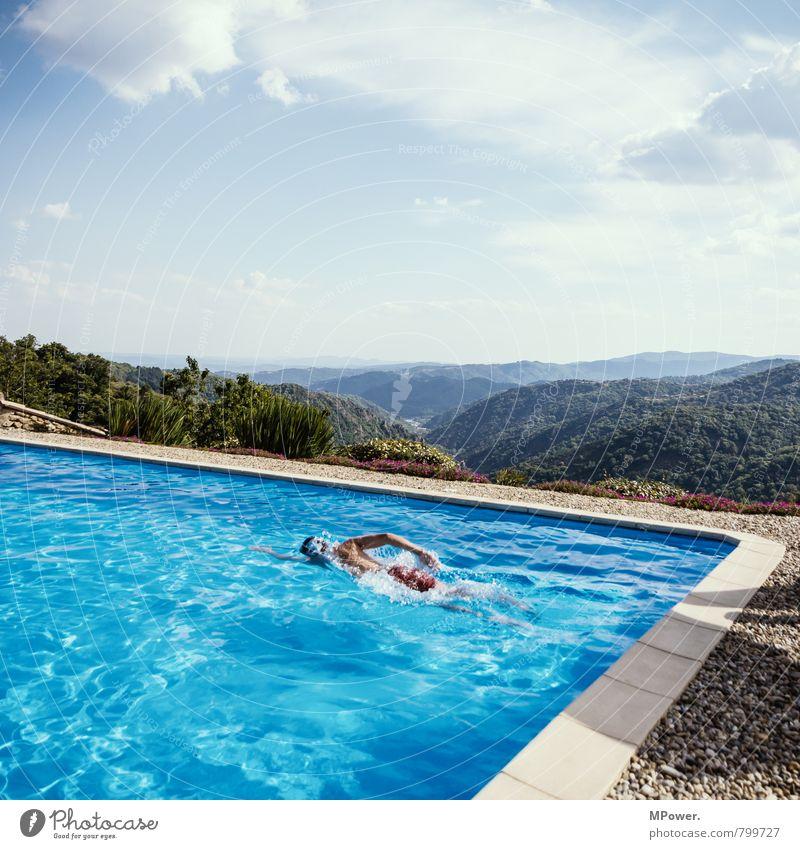 pool Lifestyle Reichtum Freude Mensch maskulin Junger Mann Jugendliche Körper 1 Schwimmen & Baden Schwimmbad Wasser Erholung Ferien & Urlaub & Reisen