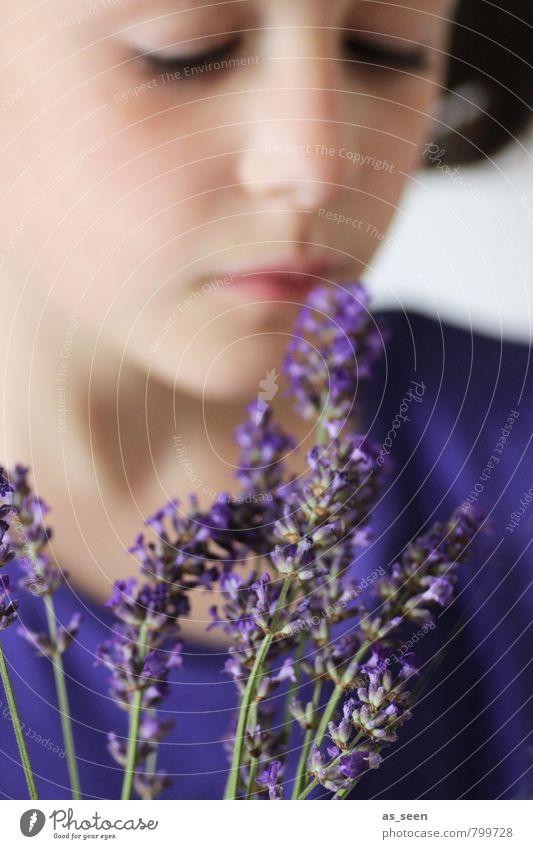Duft II Kind Natur blau Pflanze schön Farbe Sommer Erholung Blume ruhig Mädchen Umwelt Blüte natürlich Garten träumen