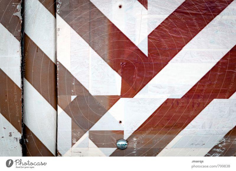 Markierung Stil Design Schilder & Markierungen Linie Streifen alt außergewöhnlich Coolness eckig einfach einzigartig rot weiß Kreativität Irritation Farbfoto