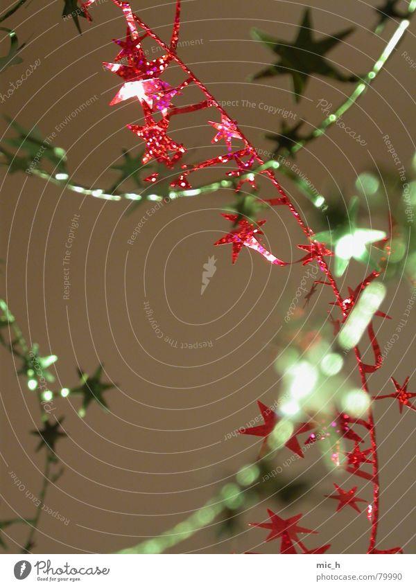 Weihnachts-KlimBim Girlande glänzend rot grün Unschärfe Weihnachten & Advent Stern (Symbol) Kitsch