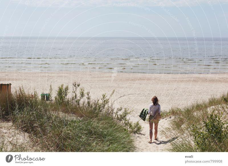 Hallo, Strand! Ferien & Urlaub & Reisen Tourismus Ausflug Sommer Sommerurlaub Sonne Meer Mensch Frau Erwachsene 1 Landschaft Schönes Wetter Wellen Küste Ostsee