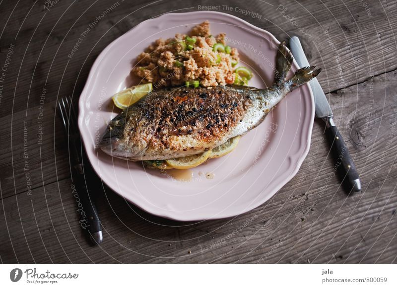 dorade mit tabouleh Gesunde Ernährung natürlich Gesundheit Lebensmittel frisch Ernährung Fisch Getreide Gemüse lecker Appetit & Hunger Geschirr Teller Messer Mittagessen Besteck