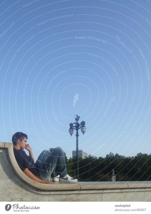 blue Mann Jugendliche schön Himmel blau ruhig Erholung Wetter Pause Aussicht London Erscheinung