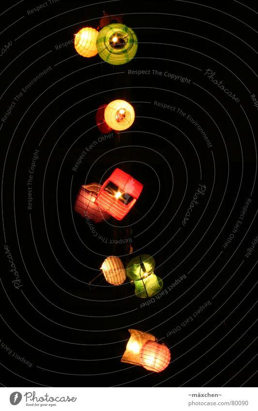 Lampions *4* Langzeitbelichtung mehrfarbig rot Licht gemütlich Romantik Lichterkette angenehm dunkel knallig grün leicht orange prächtig Laterne Reihe