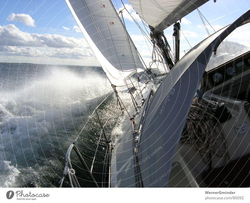 Gegenan Natur Wasser Himmel Meer Ferien & Urlaub & Reisen Sport Freiheit Wasserfahrzeug Wellen Wind Freizeit & Hobby Segeln Segelboot Wassersport Jacht Gischt