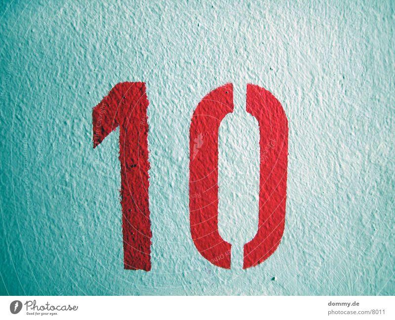 """10"" grün rot Farbe Hochhaus Ziffern & Zahlen Etage Stock 10"