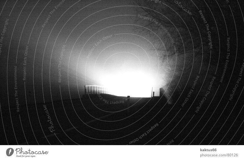 Das Licht am Ende der Brücke .... Metalcore Dämmerung dunkel Hölle Hintergrundbild Abend Nebel schwarz Nacht kalt Schattendasein Morgen verdunkeln gruselig
