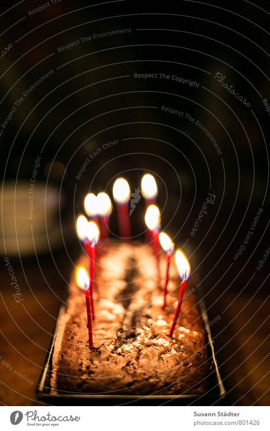 Geburtstagskuchen Teigwaren Backwaren Kuchen Ernährung Kaffeetrinken Feste & Feiern Geburtstagstorte Schokoladenkuchen Kerze Kerzenschein Backform Liebe Kasten