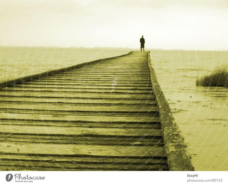 Männerromantik Jadebusen See Meer Einsamkeit Steg Romantik Strand Horizont Wolken Mann Küste abgelegen Aussicht männerromantik Ferne Mensch Freiheit Ziel