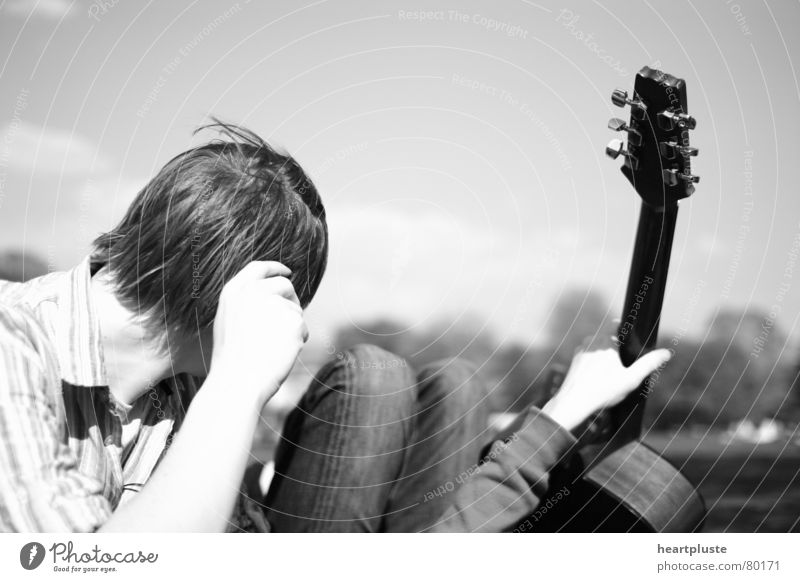 music_for_the_people Sommer weiß schwarz Schwarzweißfoto Freude b/w Gitarre guitar