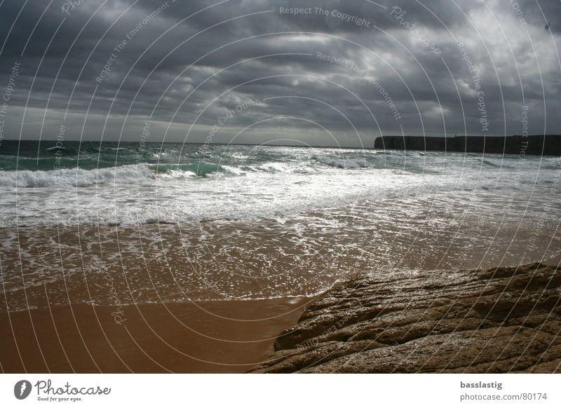 Strand in Lagos Wasser Himmel Sonne Meer Ferien & Urlaub & Reisen Wolken Sand Wellen Europa Algarve Portugal