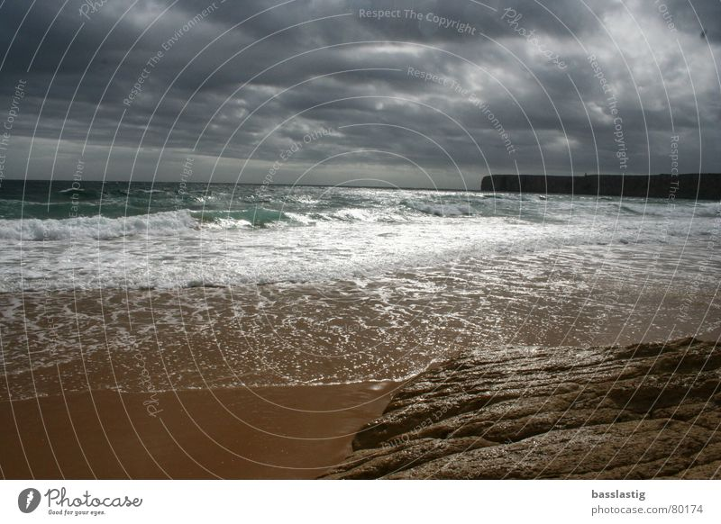 Strand in Lagos Wasser Himmel Sonne Meer Strand Ferien & Urlaub & Reisen Wolken Sand Wellen Europa Algarve Portugal Lagos