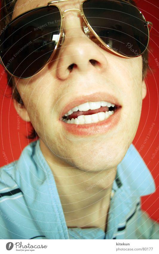 the revenge of puck die stubenfliege Mann Jugendliche blau rot lustig Glas Junger Mann Fliege Nase verrückt Streifen Brille Zähne skurril dumm Sonnenbrille