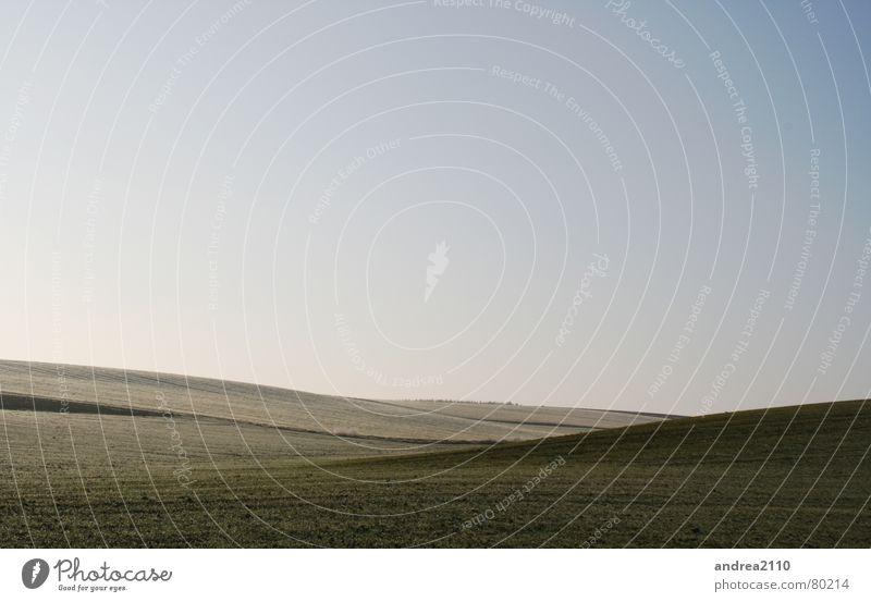 eisfelder Winter Ferne kalt Landschaft Feld Nebel Hügel