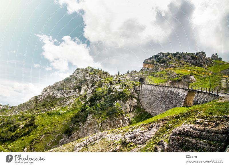 wendelstein Umwelt Natur Landschaft Himmel Wolken Sommer Wiese Felsen Alpen Berge u. Gebirge Gipfel Verkehrsmittel Wege & Pfade grün Einsamkeit Freizeit & Hobby