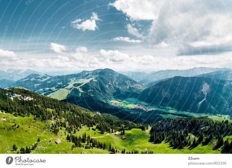 Bayrischzell Ferien & Urlaub & Reisen Tourismus Ausflug Sommer Sommerurlaub Berge u. Gebirge Klettern Bergsteigen Himmel Wolken Schönes Wetter Wiese Wald Alpen