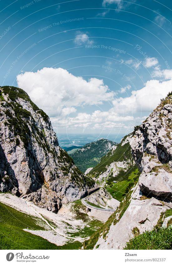 Wendelstein Himmel Natur blau grün Sommer Erholung ruhig Landschaft Wolken Ferne Umwelt Berge u. Gebirge Wiese natürlich Freiheit Felsen