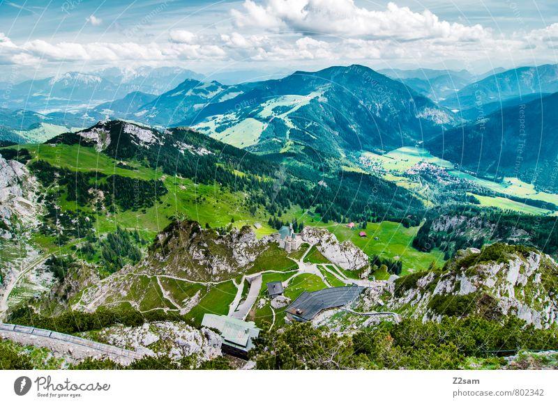 Wendelstein-Bayrischzell usw Himmel Natur blau grün Sommer Landschaft Wolken Ferne Umwelt Berge u. Gebirge Wege & Pfade natürlich Felsen Ordnung Idylle