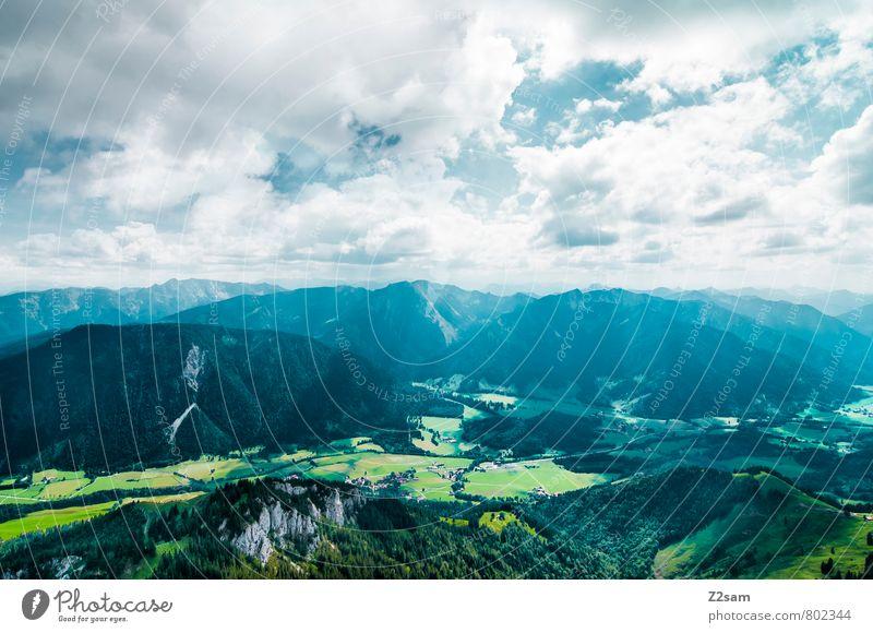 Bayrischzell Ferien & Urlaub & Reisen Tourismus Ausflug Sommerurlaub Berge u. Gebirge wandern Klettern Bergsteigen Landschaft Himmel Wolken Schönes Wetter Wiese