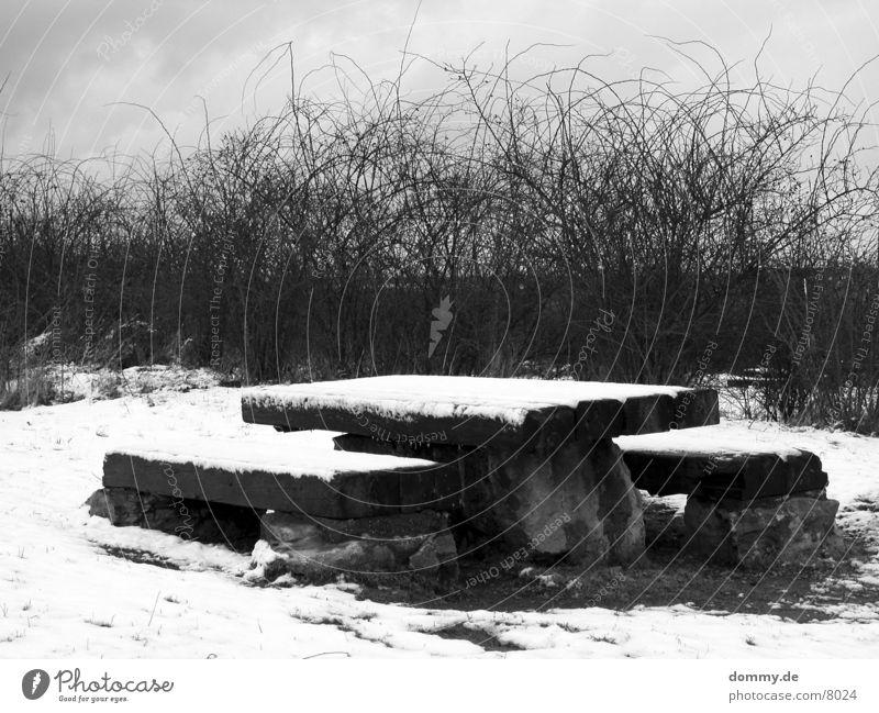 machmapause Winter Schnee Eis Tisch Bank Häusliches Leben