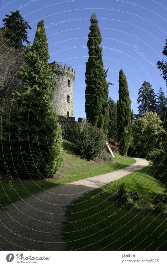 Powerscourt Gardens Himmel Baum grün blau Wiese Gras Garten Stein Wege & Pfade Park Turm Republik Irland Dublin