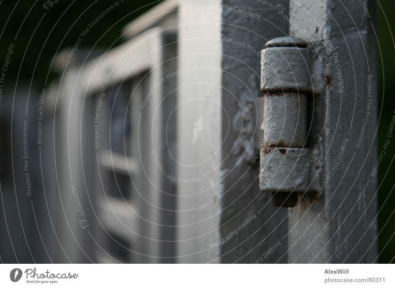 Rost alt Metall Sicherheit Schutz Vergänglichkeit Tor verfallen Stahl Tiefenschärfe Eisen Garage Einfahrt Scharnier Gartentor