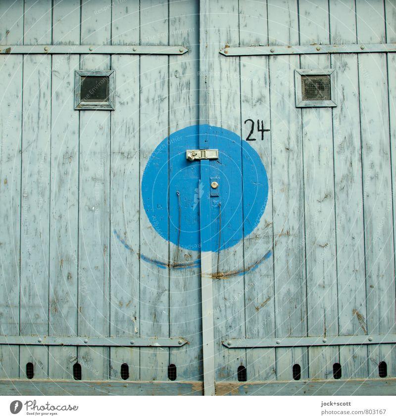 Happy im Quadrat Straßenkunst Sechziger Jahre Garagentor Schloss Holz Ziffern & Zahlen Rechteck Kreis Lächeln Fröhlichkeit positiv blau einzigartig Optimismus
