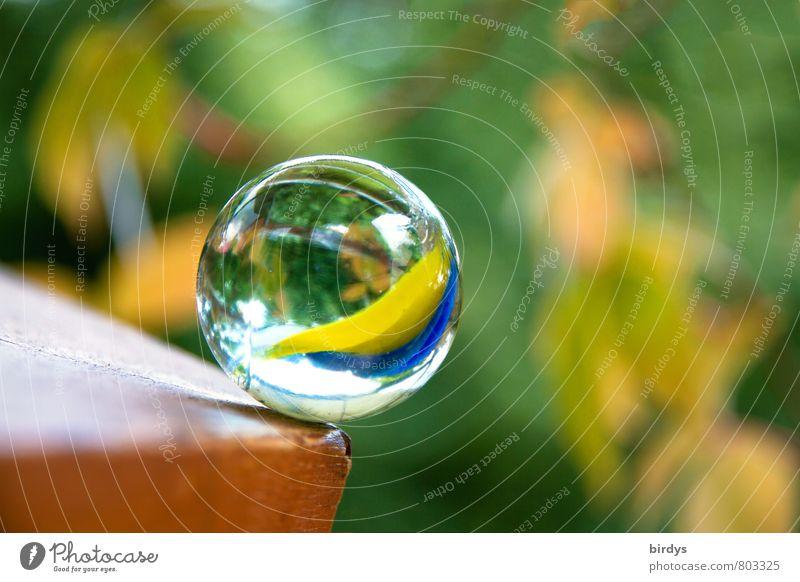 Murmel in Gefahr Glaskugel drehen glänzend ästhetisch Freundlichkeit positiv rund mehrfarbig schön Hoffnung Zufriedenheit Schwerkraft Absturzgefahr Am Rand