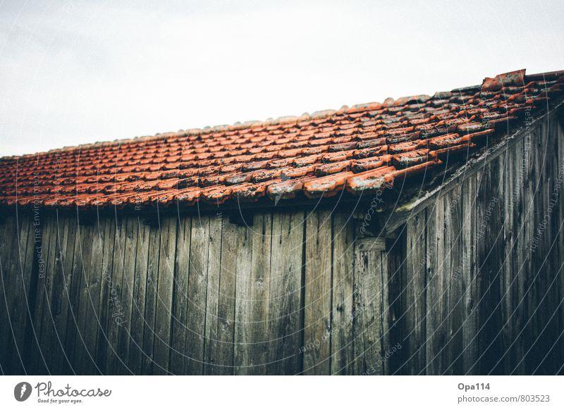"""Alte Hütte Dach Backstein Tonziegel Holz Senior Verfall """"Ziegel Rot vermodert Moos Dachziegel Einsam alt verkommen Unterschlupf Gebäude Alterung"""" Farbfoto"""