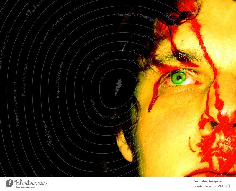 Bloody Mann grün rot Gesicht Auge Haare & Frisuren Mund Nase Ohr Blut