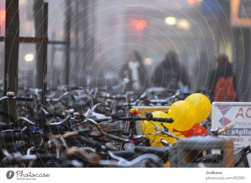 Münster am Morgen Mensch Winter Fahrrad Nebel Luftballon Rad Nordrhein-Westfalen