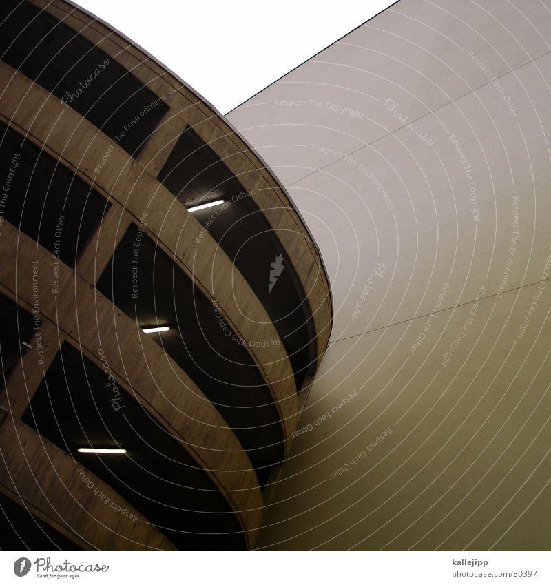 heim guggen rund Parkhaus Parkplatz Architektur modern Moderne Architektur Anschnitt Detailaufnahme Bildausschnitt Textfreiraum rechts Betonklotz Betonbauweise