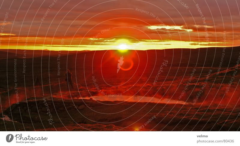 Hot Spot Himmel Ferien & Urlaub & Reisen Landschaft Berge u. Gebirge Horizont Nebel Ausflug Reisefotografie Island Abenddämmerung Quelle Wasserdampf