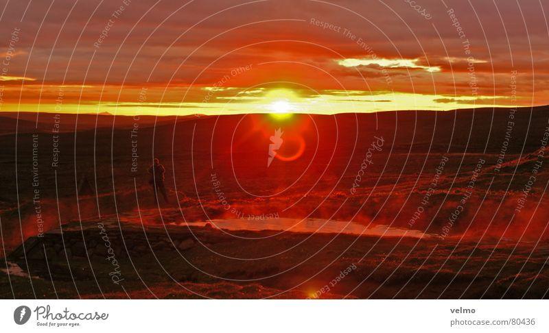Hot Spot Quelle Island Sonnenuntergang Hochebene Heisse Quellen Abend Himmel Berge u. Gebirge Wasserdampf Ausflug Nebel Abenddämmerung Abendsonne Roter Himmel