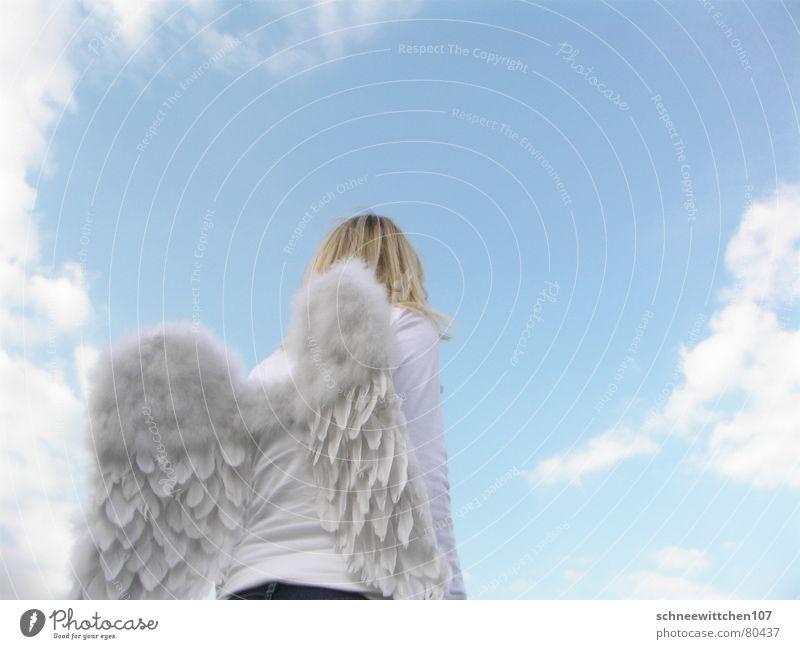 himmel auf erden 2 Mensch Himmel blau Wolken fliegen Flügel Engel Schutz Frieden Paradies Verantwortung bewachen Spannweite