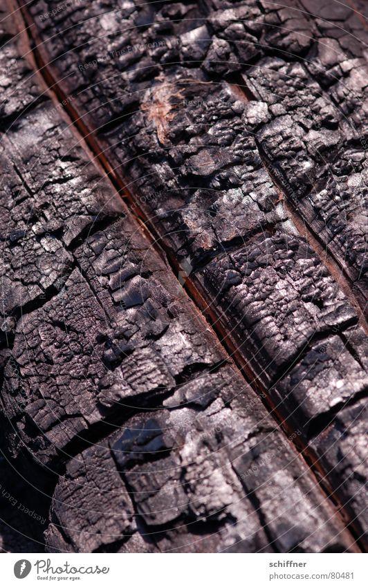 Brandrodung schwarz Wärme Holz Energiewirtschaft verrückt diagonal brennen Makroaufnahme Feuerstelle Brandasche Brennholz biegen quer Brandzeichen