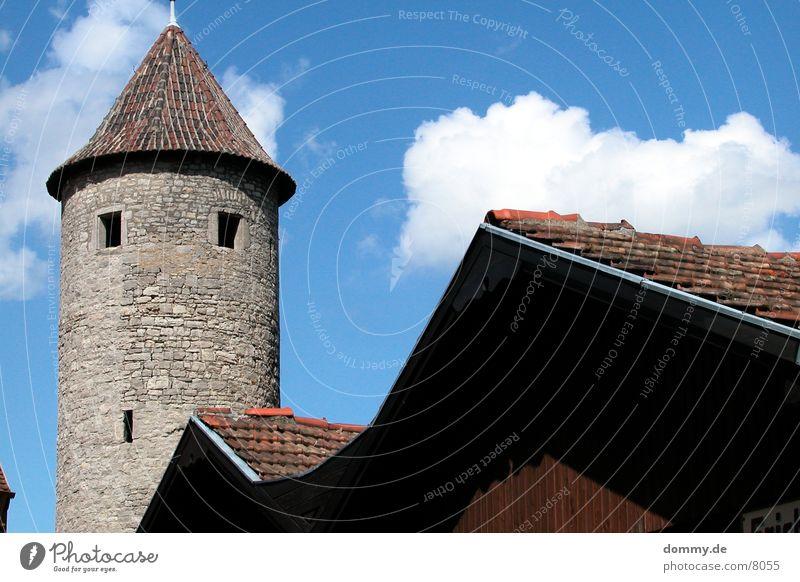 Stadtmauer Scheune Heidingsfeld Würzburg Wachturm Wolken Architektur Turm Sonne