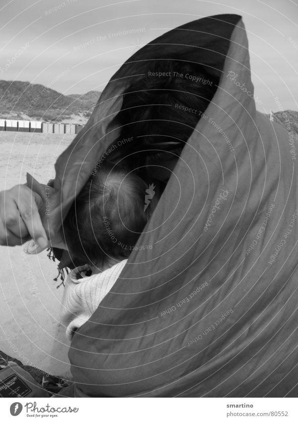 Geborgenheit Meer Wolken Wärme Sand Wind Schutz Vertrauen