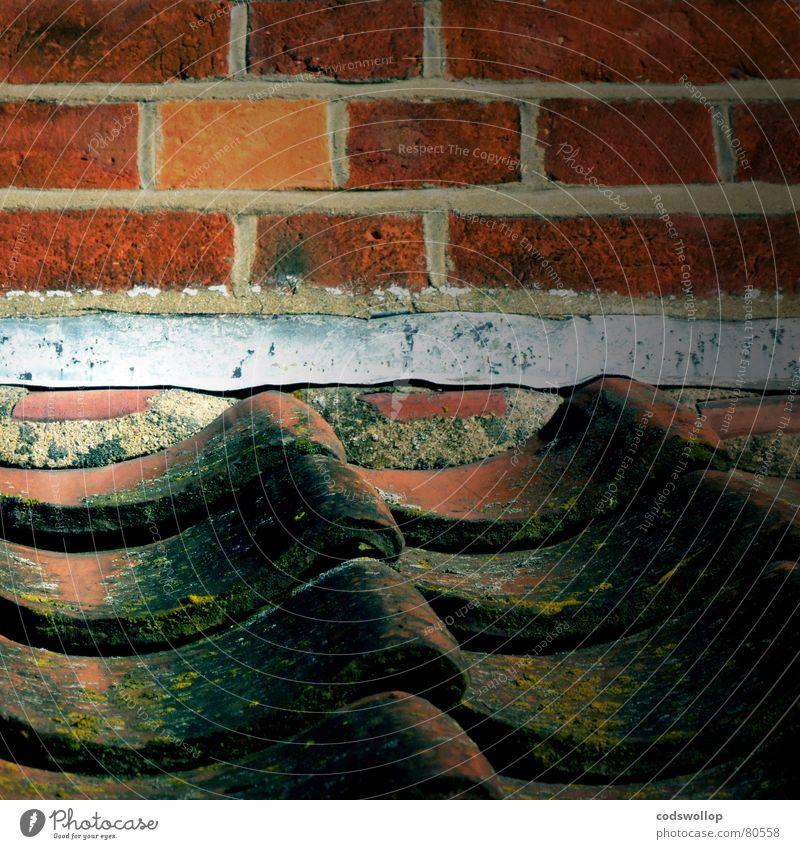 passt schon orange Handwerk historisch Informationstechnologie Reparatur Dachziegel selbstgemacht Dachgiebel Schraubengewinde Mörtel Pfannendach
