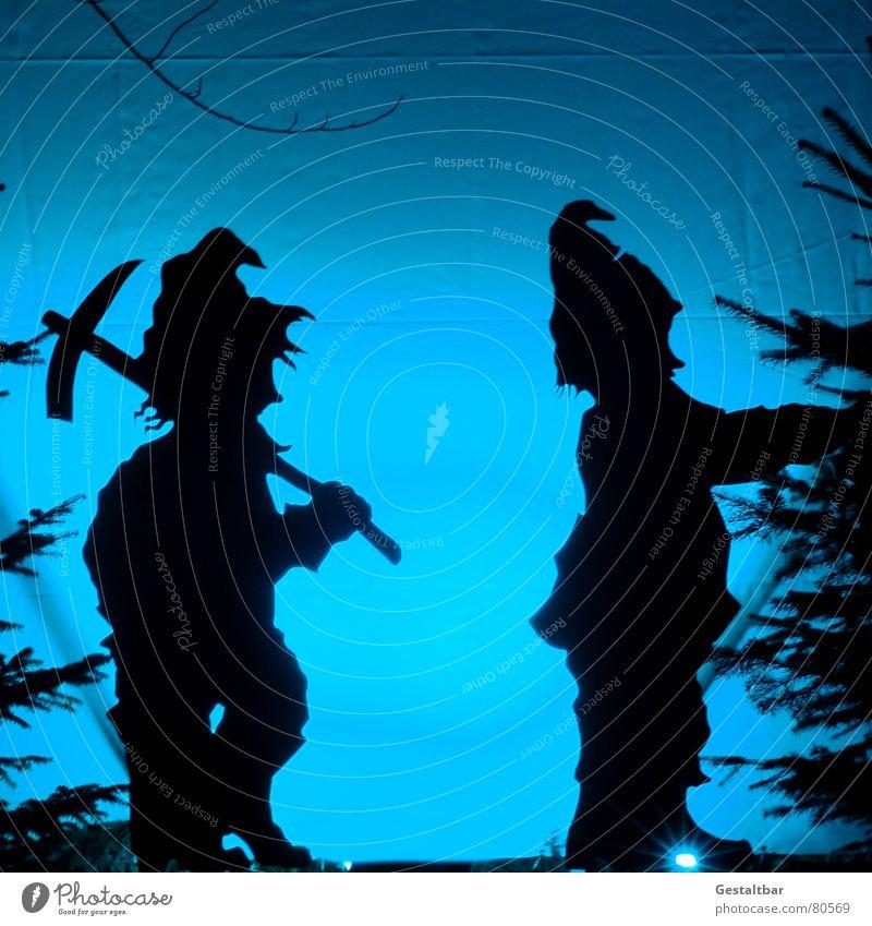 Zwei von 7 Zwergen Gnom Märchen Silhouette Nikolausmütze Wicht fantastisch Märchenlandschaft gestaltbar Kunst Kultur Schatten Hacke sagen- und märchengut fabel