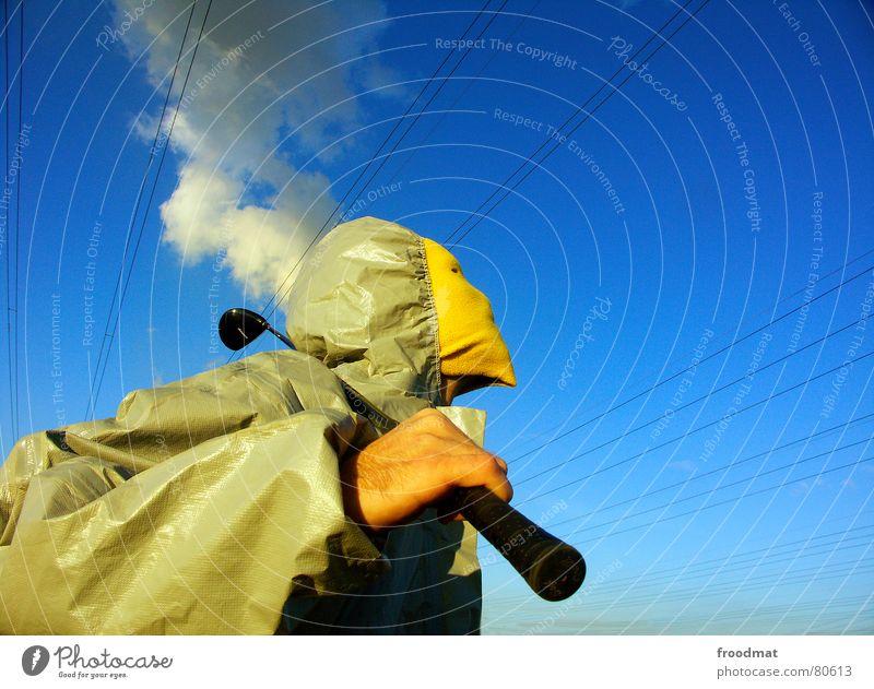 grau™ - raucht der kopf Himmel blau Hand Freude gelb grau Kopf lustig Kunst dreckig Elektrizität verrückt Perspektive planen Kabel Schutz