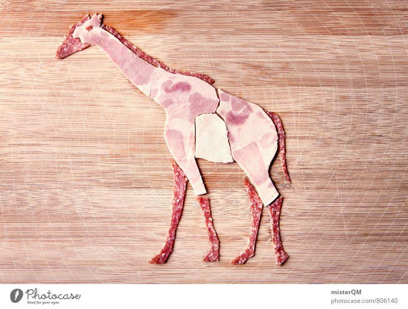 Wurstfreund. Gabi Giraffe. Kunst ästhetisch Foodfotografie Gesunde Ernährung Speise Tier Wurstwaren Wurstherstellung Lebensmittel Schinken Salami Spielen