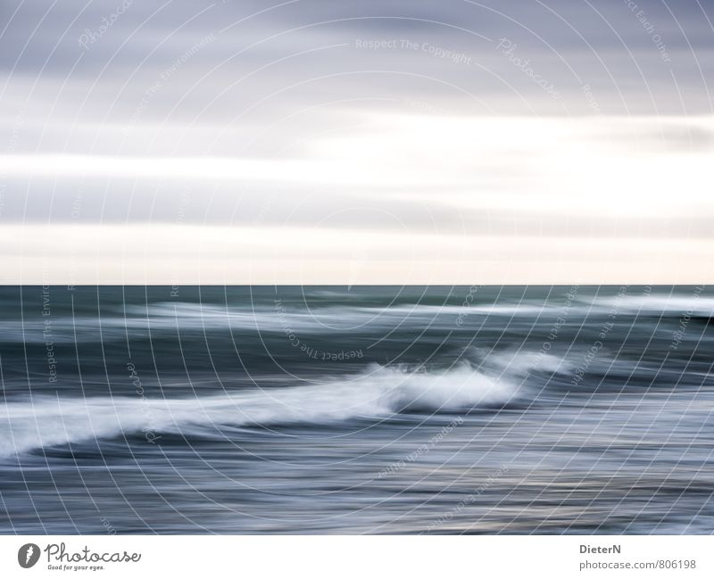 Welle Umwelt Wasser blau grau weiß Wellen Horizont Himmel Gischt Wolken Farbfoto Außenaufnahme Experiment Menschenleer Textfreiraum links Textfreiraum rechts