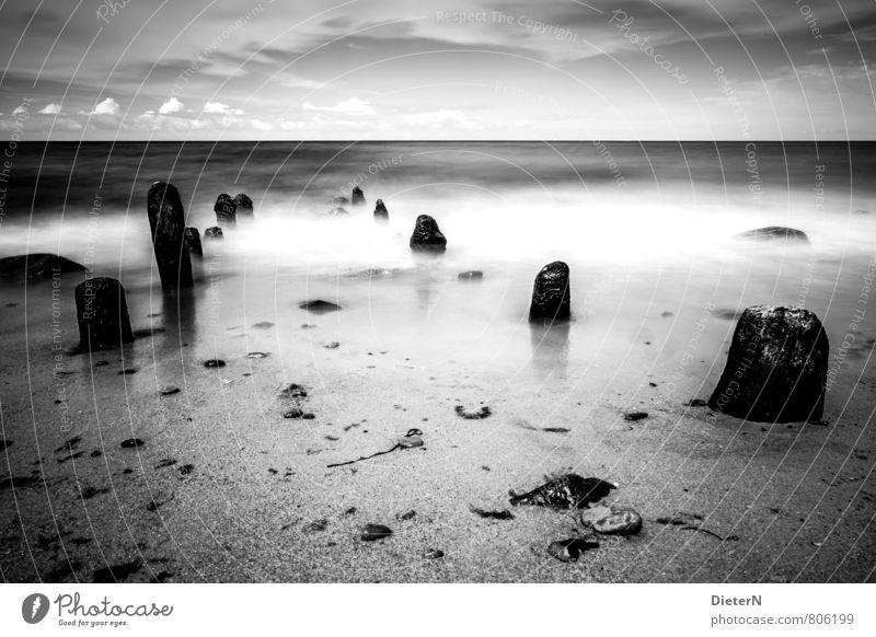Strand Landschaft Sand Wasser Himmel Wolken Horizont grau schwarz weiß Meer Buhne Stein Ostsee Schwarzweißfoto Menschenleer Textfreiraum oben Textfreiraum unten
